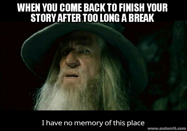 When You Come Back to Finish Your Story After Too Long A Break…